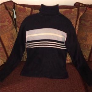 Women's Navy Blue Casual Stripe Turtle Neck Small